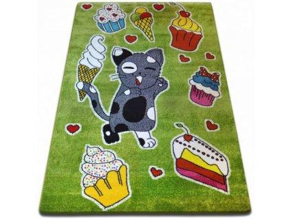 Dětský kusový koberec KIDS C415 Kočička zelený