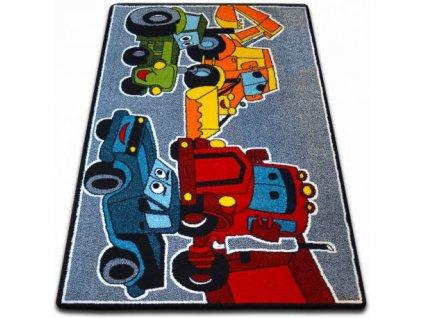 Dětský kusový koberec KIDS C418 Auta modrý