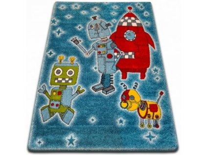 Dětský kusový koberec KIDS C419 Roboti modrý