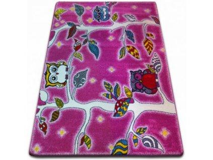 Dětský kusový koberec KIDS C427 Ptáčci růžový