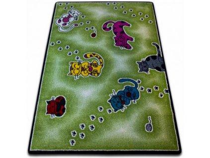 Dětský kusový koberec KIDS C428 Kočky zelený