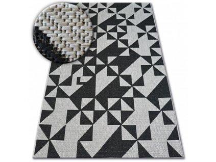 Koberec SISAL FLOORLUX 20489 stříbrný / černý