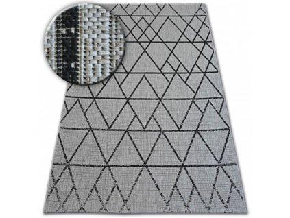 Koberec SISAL FLOORLUX 20508 stříbrný / černý