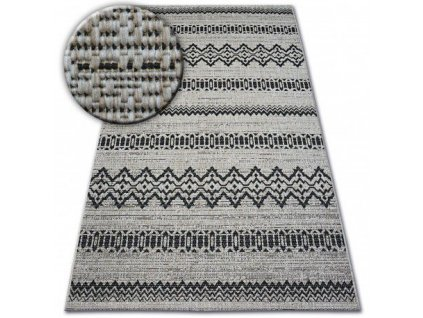 Koberec SISAL FLOORLUX 20510 stříbrný / černý