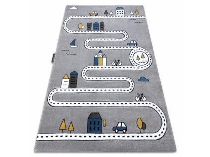 Dětský kusový koberec PETIT Ulice šedý