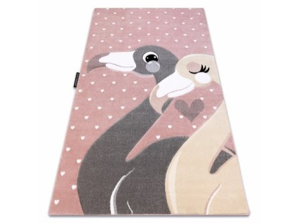 Dětský kusový koberec PETIT Plameňáci / srdíčka růžový