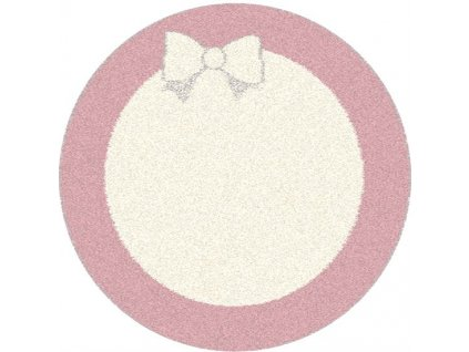 Kulatý kusový koberec Agnella Eden Ril Růžový