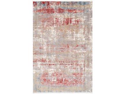 Moderní kusový koberec Zadar Y791A Abstraktní šedý / červený