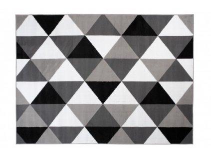 Moderní kusový koberec BALI C603B trojúhelníky světle šedý / bílý