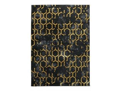 Moderní kusový koberec FESTIVAL 2296A černý / žlutý