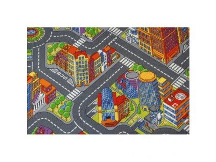 Dětský kusový koberec ULIČKY BIG CITY šedý