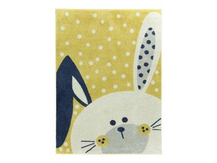 Dětský kusový koberec EMILY KIDS 2323A Zajíček žlutý