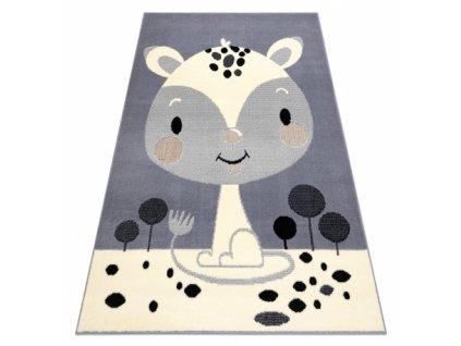 Dětský kusový koberec BCF FLASH 3995 - Liška šedý