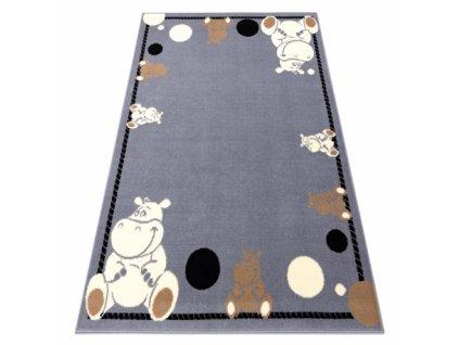 Dětský kusový koberec BCF FLASH 3993 Hrošík šedý