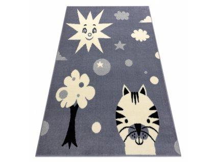 Dětský kusový koberec BCF FLASH 3992 Slunce kočka strom šedý