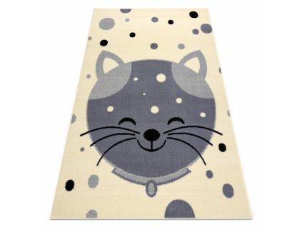 Dětský kusový koberec BCF FLASH 3998 Kočička krémový / šedý