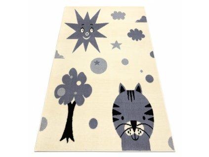 Dětský kusový koberec BCF FLASH 3992 Slunce kočka strom krémový / šedý