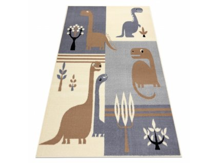 Dětský kusový koberec BCF FLASH 3994 - Dinosauři šedý