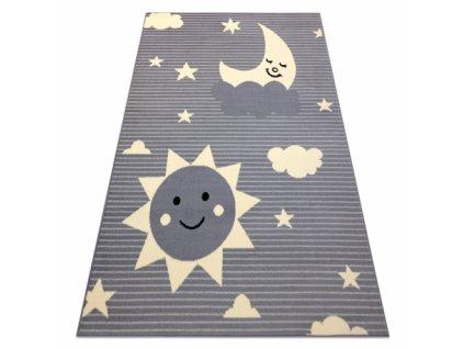 Dětský kusový koberec BCF FLASH 4001 Slunce Měsíc nebe hvězdy šedý