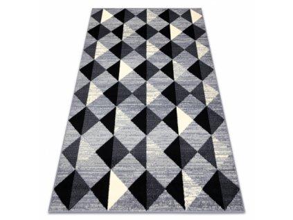 Kusový koberec BASE 3987 Trojúhelníky šedý / slonová kost