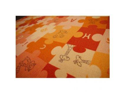Dětský kusový koberec PUZZLE oranžový