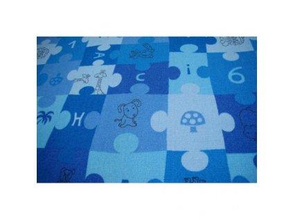 Dětský kusový koberec PUZZLE modrý