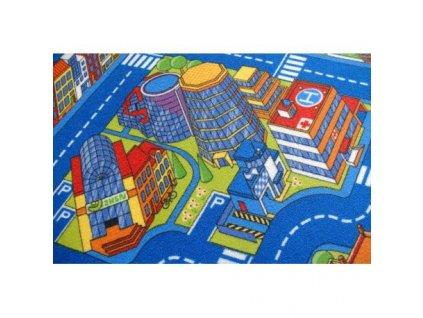 Dětský kusový koberec ULIČKY BIG CITY modrý