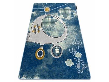 Dětský kusový koberec PETIT HELIKOPTÉRA Vrtulník modrý
