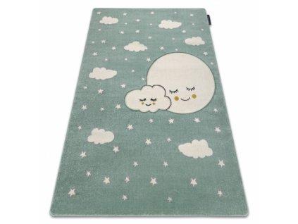 Dětský kusový koberec PETIT Měsíc Mráčky Hvězdičky zelený