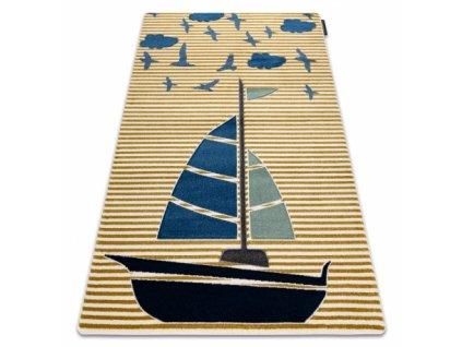 Dětský kusový koberec PETIT Loďka Plachetnice žlutý