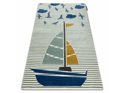 Dětský kusový koberec PETIT Loďka Plachetnice zelený