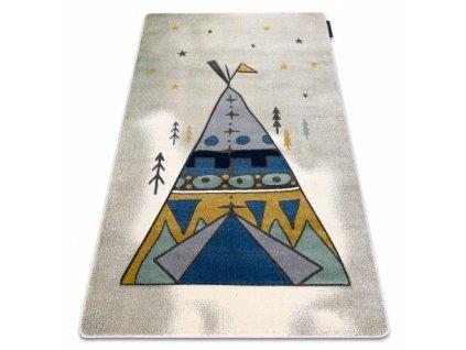 Dětský kusový koberec PETIT Indiánské Teepee šedý
