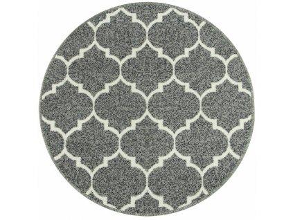 Kulatý koberec Clover pogumovaný šedý