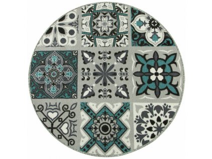 Kulatý koberec Patchwork  pogumovaný tyrkys