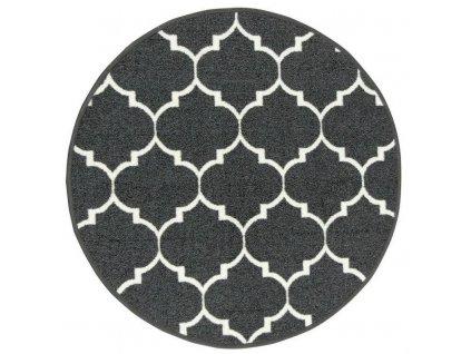 Kulatý koberec Clover pogumovaný tmavě šedý