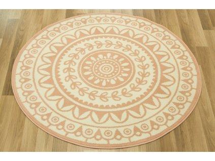 Kulatý koberec LUNA 503786/95855 růžový krémový