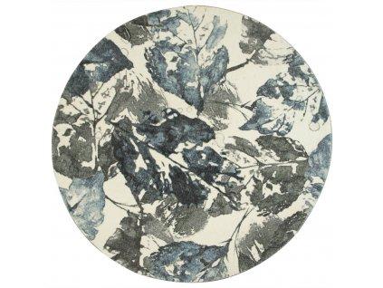 Kulatý koberec Listí šedý modrý