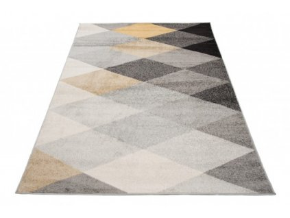 Kusový koberec LAZUR C939B šedý / žlutý
