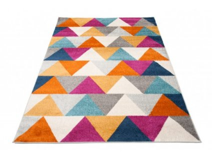 Kusový koberec LAZUR C944I trojúhelníky oranžový / bílý / žlutý