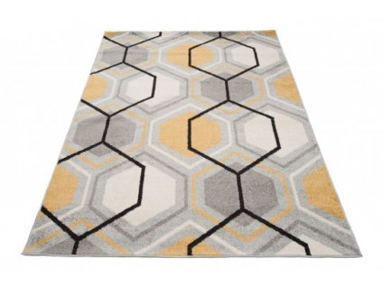 Kusový koberec LAZUR C569K šedý / žlutý