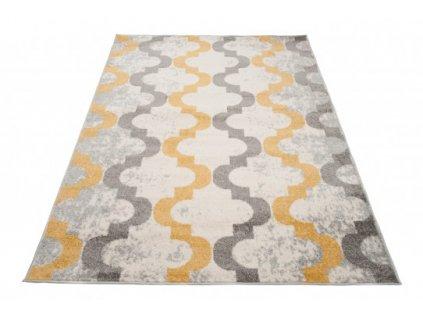 Kusový koberec LAZUR C941A bílý / šedý / žlutý