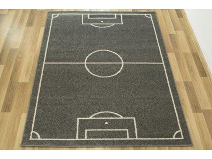 Dětský kusový koberec Emily Kids 2919A Fotbalové hřiště šedý