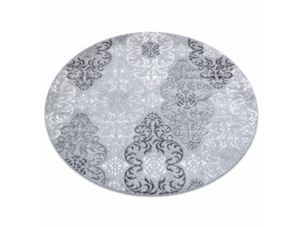 Kulatý kusový koberec MEFE 8734 šedý