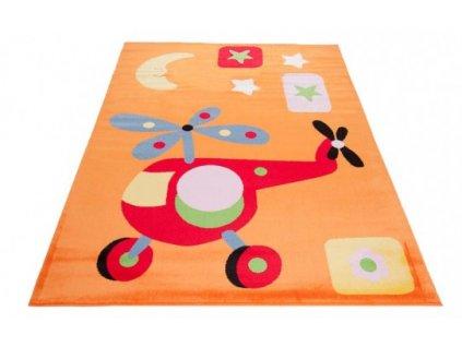 Dětský kusový koberec KINDER A648A Vrtulník Helikoptéra oranžový