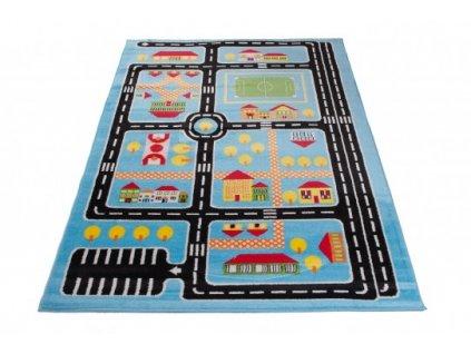 Dětský kusový koberec KINDER A646A Silnice modrý