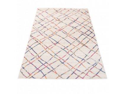 Moderní kusový koberec A892A DENVER bílý / růžový