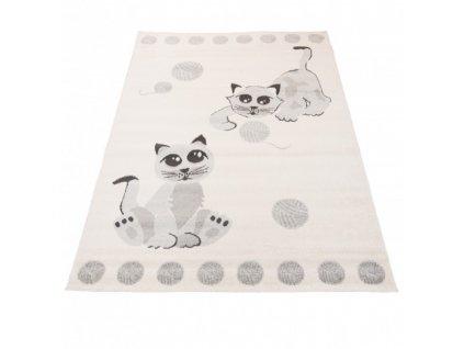 Dětský kusový koberec HAPPY H318A Kočičky bílý / šedý