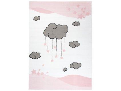 Dětský kusový koberec LUNA Mráčky růžový / bílý