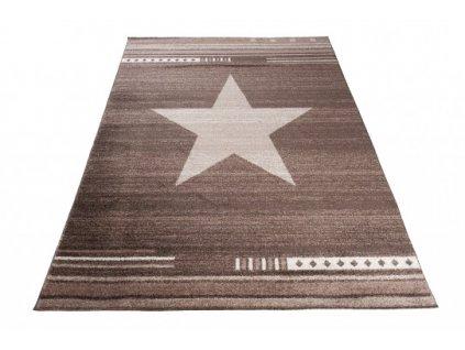 Moderní kusový koberec MAROKO L916A Hvězda hnědý