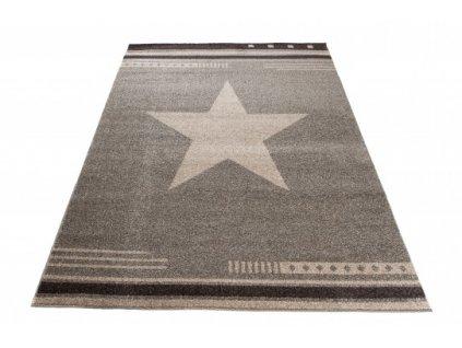 Moderní kusový koberec MAROKO L916A Hvězda fume béžový